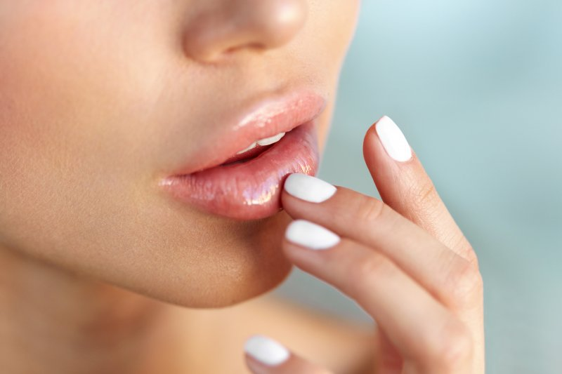 Closeup of woman with healthy lips